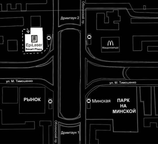 Карта проїзду на лазерну епіляцію в Епілазер біля метро Мінська